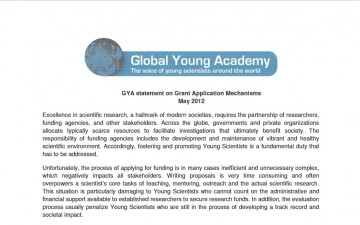 GYA statement on Grant Application Mechanisms