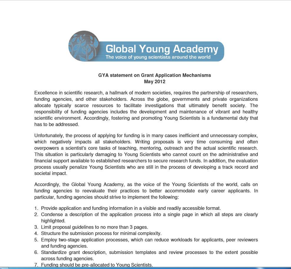 GYA statement on Grant Application Mechanisms – Grant Application