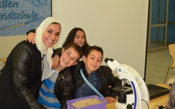 GYA member Ghada Bassioni with students of the Libellenschule