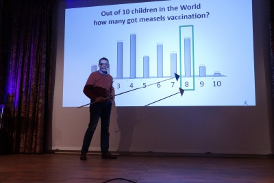 Hans Rosling giving a stunning speech on  the state of public health and education across the globe. Photo by Sveriges Unga Akademi