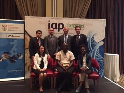 GYA Members at the IAP Conference. From left to right, top to bottom: Jorge Huete Perez, Bernard Slippers, Sameh Soror, Rees Kassen, Orakanoke Phanraksa, Voster Muchenje (SAYAS Co-Chair), Tolu Oni. ©GYA