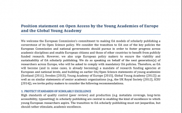 Position statement on Open Access by the Young Academies of Europe and the Global Young Academy