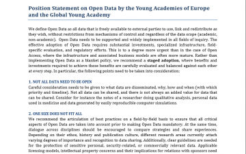 Position Statement on Open Data by the Young Academies of Europe and the Global Young Academy