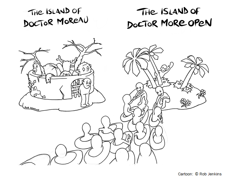 Two islands: The island of Doctor Moreau is closed and sad; while the island of Doctor More Open is welcoming and happy.