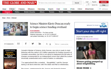 Canadian Science Minister Kirsty Duncan ready to begin science funding overhaul