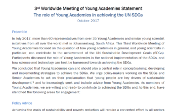 Statement on The role of Young Academies in achieving the UN SDGs by National Young Academies and the GYA