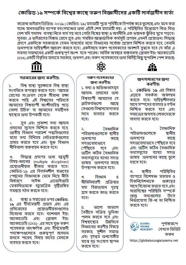 GYA COVID-19 statement infographic - Bengali version