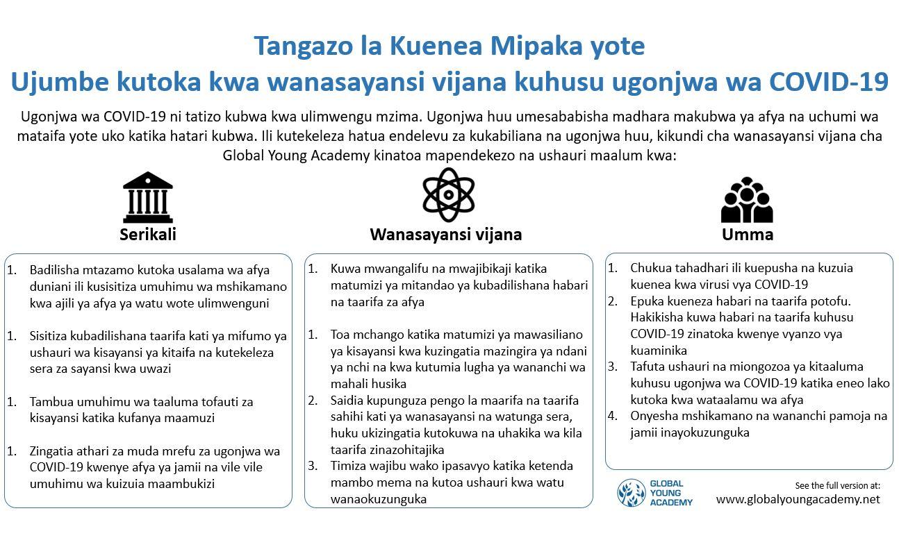 GYA COVID-19 statement infographic - Swahili version