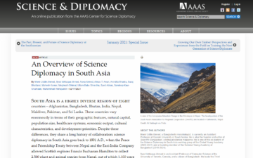 An Overview of Science Diplomacy in South Asia